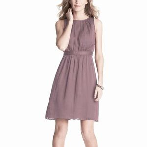 Ann Taylor LOFT Pleat Neck Linen Shift Dress